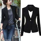 JP New Womens Black Button Slim Suit Casual Business Blazer Jacket Coat Outwear