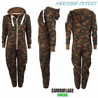KIDS ARMY CAMOUFLAGE PRINT ONESIE HOODED JUMPSUIT ALL IN ONE BOYS GIRLS FLEECE