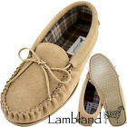 Lambland Mens Sheepskin Suede Moccasin Slippers with Hard Wearing Sole - Beige