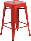 FLASH FURNITURE 24'' HIGH BACKLESS METAL INDOOR-OUTDOOR COUNTER HEIGHT STOOL NEW
