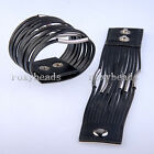 1X Punk Mens Unisex Multi-Layer with Metal PU Leather Wide Buckle Bracelet Gift