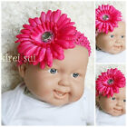 Baby Girls Hot Pink Daisy Flower Clip Crochet Headband
