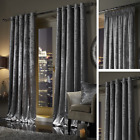 SILVER Plush Crushed Velour Faux Velvet Pencil Pleat / Eyelet Ring Top Curtains