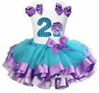 Blue Lavender Satin Trimmed Tutu 2nd Cupcake Girls Birthday Party Dress Outfit