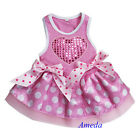 Valentine's Day Light Pink Polka Dots Bling Heart Party Dress Pet Dog Tutu Cloth