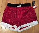 NWT Men's MAX DECO Red Velour Santa Holiday Boxer Size Medium or Large
