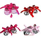 Baby Girls Hot Light Pink Red Black Damask Ribbon Crib Shoes First Party NB-18M