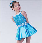 In Stock Classic Blue Sequin Bodice Modern Tap Jazz Dress Dance Costume Bow Miss