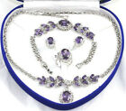 Pretty Purple Cubic Zirconia Crystal Pendant Necklace Bracelet Earrings Ring Set