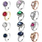 Silver/Gold Filled Party Shinning Women Jewelry Finger Rings Size 6/7/8/9/10