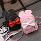 Women Girl Bowknot Backpack Leather Mouse Shoulder Handbag Rucksack School Bag