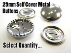 29mm Metal Self Cover Buttons Brass Silver Fashion Snap Blank Buttons