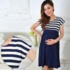 Stripe Pregnant Women Dress Short Sleeve Cotton Loose Casual Maternity Dress New