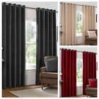 Modern Plain Chenille Eyelet Lined Pair of Curtains – Soft Touch & Ready Made