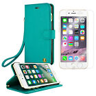 iPhone 6s 7 Leather Wallet Case Cover + Tempered Glass Screen Protector - Teal