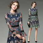 Spring Fashion Womens Trump Sleeve Vintage Floral Crochet Lace Retro Mid Dress