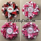 Handmade Double Layer Loopy Ribbon Hair Bow Barrette Clip -Valentines Love Heart