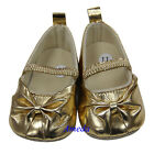 Newborn Baby Girls Bling Gold Bow Glitter Party Crib Shoes 0-18M
