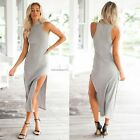 Women Sleeveless Mid-calf Solid Casual Party Long Slim Stretch Bodycon Dress