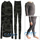 Kids Boys GREY OR Camo Thermal Warmth Baselayer Soft Long Johns OR  Long Sleeve