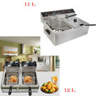 6L/11L/12L Electric Countertop Deep Fryer Dual Tank Commercial Restaurant Steel