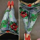 New Chic Women's Denim Jeans Flower Sequins Beads Fray Pencil Pants Trouser Size