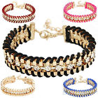 Fashion New Women Girl Shiny Rhinestone Woven Bracelet Jewelry Accessory