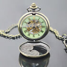 UNISEX ROMAN NUMERALS TRANSPARENT DIAL WINDING MECHANICAL POCKET WATCH FITTED
