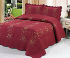 Burgundy 3 Piece Quilted Bedspread Red Burgundy Quilt Shams Floral New