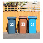 3 X White Wheelie Bin House Numbers Stickers Wheely Dustbin Sticker Peel & Stick