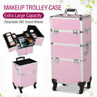 3 in 1 Aluminum Pro Rolling Makeup Case Salon Cosmetic Technician Organizer US