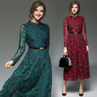 Elegant Occident Womens Long Sleeve Floral Lace Crochet Belted Swing Long Dress