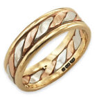 9ct Rose, White & Yellow Gold Tricolour Band Ring ~ Handmade & Heavyweight