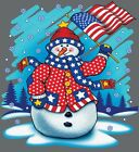Snowman & American Flag Shirt, Christmas Shirt, X-Mas, Holiday Cheer, Sm - 5X