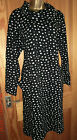 Capri black with ivory spots thick jersey dress pockets roll neck size 18