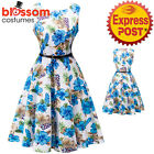 K328 Blue Floral Flower Retro Rockabilly Vintage Party 50s Swing Dress Evening