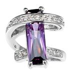 Women Fashion 925 Silver Amethyst gemstone rectangle Ring Engagement Jewelry