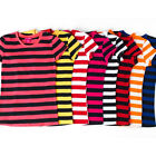 Ladies' Casual Cotton Striped Short-Sleeved Round Neck T-Shirts
