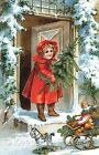 Christmas Girl Victorian Repro Quilt Block Multi Szs FrEE ShiP WoRld WiDE (C8