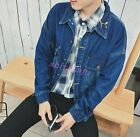 Newest Fashion Men's Long Dolman Sleeve Basic Jacket Embroidery Jean Jacket Coat