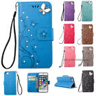 Luxury Diamond Magnetic Leather Flip Wallet Case Cover For iPhone 4 5S 6S 7 Plus