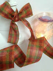 AUTUMN TARTAN Tweedy gingham 'Faux Burlap style' 63mm - Luxury Wire Edged Ribbon