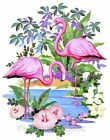 Colorful Pink Flamingos Fabric Applique Multi Sizes
