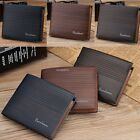 Men's Fashion Synthetic Leather Striped Brifold Wallet Short Coin Purse B20E