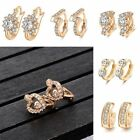 Women's Earring Flower Wedding Crystal Gold Filded Simple Style  Shining