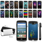 For LG Optimus Zone 3 VS425PP/ K120 Shockproof Brushed Hybrid Cover Case + Pen
