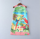Occident summer fashion parrot printing Jacquard makings a holiday dress SMLXL