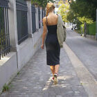 1 Piece 2017 New Women Simple Casual Sling Sleeveless Knitted Knee Long Dress