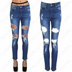 NEW LADIES RIPPED CUT JEANS WOMEN FRAYED DISTRESSED DENIM STRETCH FIT RIP PANTS