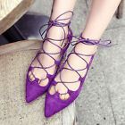 Hot women Gladiator Flats faux suede lace up cross boat shoes stylish pointy toe